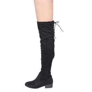 Bonnibel GF68 Women's Faux Suede Lace-up Inside Zipper Low-heel Over-knee-high Boots