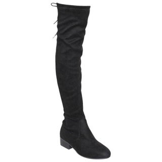 Bonnibel GF68 Women's Faux Suede Lace-up Inside Zipper Low-heel Over-knee-high Boots