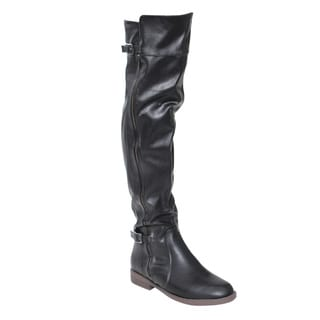 Chase & Chloe ED72 Women's Faux Leather Buckle Details Side Zipper Chunky Thigh-high Boots