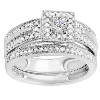 14k White Gold 5/8ct TDW Princess and Round Diamond Bridal Engagement Ring Set (H-I, I1-I2)