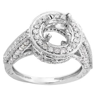 14k White Gold 1 1/10ct TDW Round-cut White Diamond Semi Mount Bridal Engagement Ring (H-I, I1-I2)
