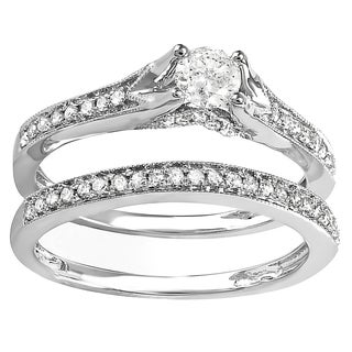 14k White Gold 5/8ct TDW Round Diamond Bridal Split Shank Engagement Ring Matching Band Set