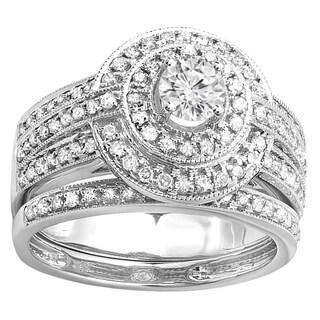 14k White Gold 1 1/10ct TDW Round-cut Diamond Engagement Bridal Ring with Matching Band Set (H-I, I1-I2)