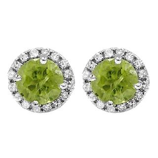 14k White Gold 2ct TDW Round Diamond Halo Green Peridot Stud Earrings (I-J, I2-I3)
