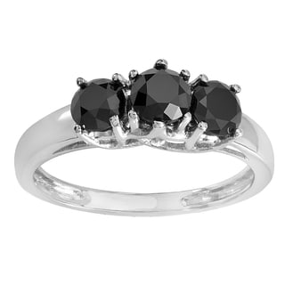 14k White Gold 2ct TDW Black Round Diamond Three Stone Engagement Ring