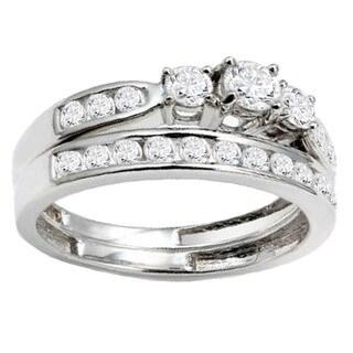 14k White Gold 1ct TDW Round Diamond 3-stone Bridal Set (H-I, I1-I2)