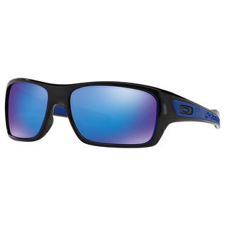 Men's Oakley Turbine Black Plastic Rectangular Sunglasses with Sapphire Iridium Lens