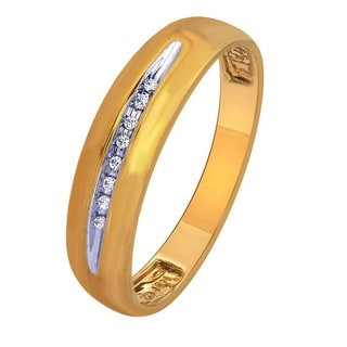 10k Yellow Gold Diamond Accent Men's Wedding Band