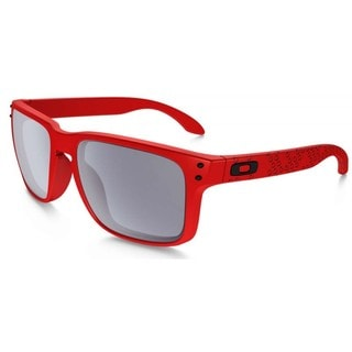 Oakley Men's Holbrook Red and Grey Lens Plastic Rectangular Sunglasses