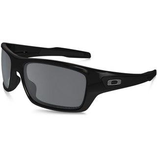 Oakley Men's Turbine Polished Black Plastic Rectangular Sunglasses with Black Iridium Polarized Lens