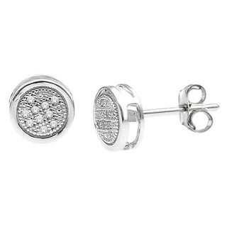 De Couer 10k White Gold 1/20ct TDW Diamond Cluster Earring