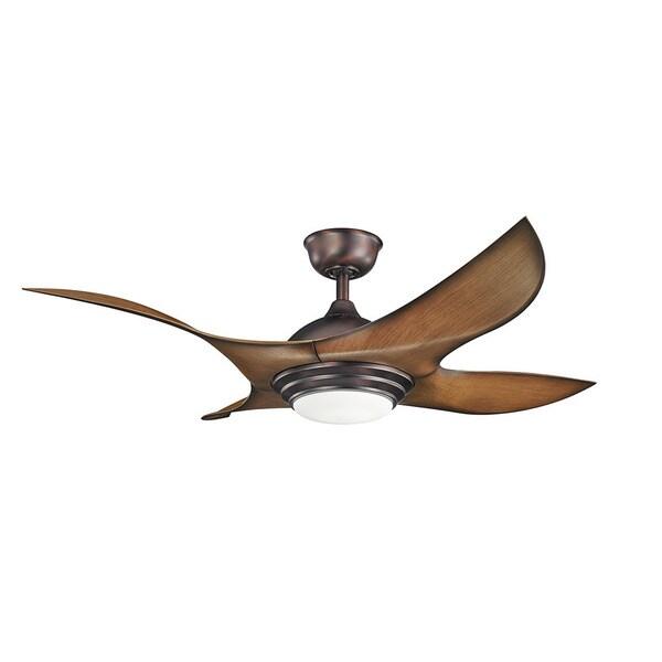 Kichler Lighting Shuriken Collection 52 Inch Oil Brushed Bronze Ceiling Fan W Led Light