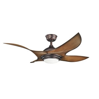 Kichler Lighting Shuriken Collection 52-inch Oil Brushed Bronze Ceiling Fan w/LED Light