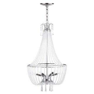 Safavieh Lighting 17.75-inch Berlin 6-light Chrome Adjustable Glass Beaded Chandelier