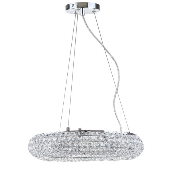 Safavieh Lighting Angelica 6 Light Chrome 15.5-Inch Adjustable Glass Pendant