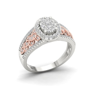 De Couer 10k Pink Two Tone White Gold 1/2ct TDW Diamond Cluster Engagement Ring (H-I, I2)