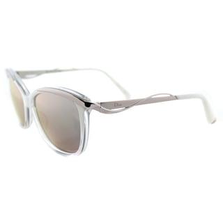 Dior Dior Metaleyes 2/S HPR 0J White Crystal Pwd Plastic Cat-Eye Rose Gold Mirror Lens Sunglasses