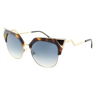 Fendi FF 0149 TLW Iridia Havana Gold Plastic Cat-Eye Azure Mirror Flash Lens Sunglasses
