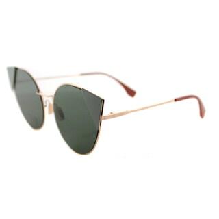 Fendi FF 0190 DDB LEI Gold Copper Metal Cat-Eye Green Lens Sunglasses