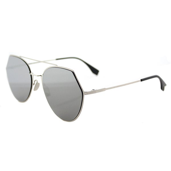 7df6cad691 Shop Fendi FF 0194 3YG Eyeline Light Gold Metal Aviator Silver Mirror Lens  Sunglasses - On