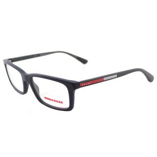 Prada Linea Rossa Unisex PS 02CV TFY1O1 Blue Rubber Plastic 53mm Rectangle Eyeglasses