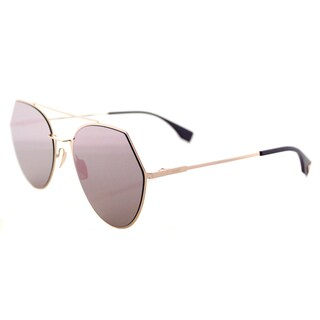 Fendi FF 0194 DDB Eyeline Gold Copper Metal Aviator Silver Mirror Lens Sunglasses