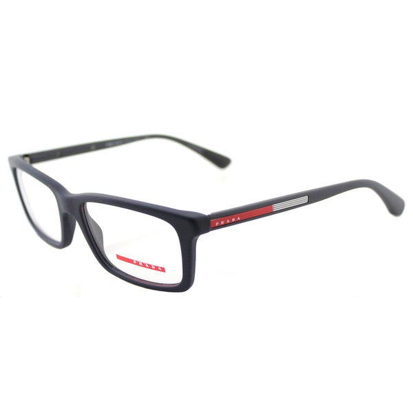 83b8650c14e Prada Linea Rossa PS 02CV TFY1O1 Blue Rubber Plastic 55-millimeter  Rectangle Eyeglasses