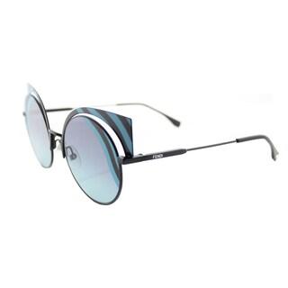 Fendi FF 0215 0LB Hypnoshine Matte Turquoise Metal Cat-Eye Blue Aqua Lens Sunglasses