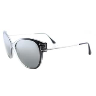 Versace VE 4316 520088 Greca Rock Icons Transparent Grey Gradient Black Plastic Cat-Eye Silver Gradient Mirrored Lens Sunglasses