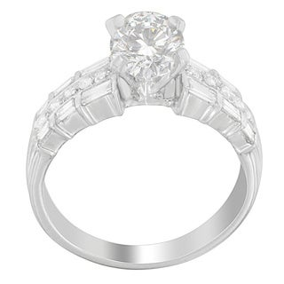 14k White Gold 1/2ct TDW Semiset Round and Baguette-cut Diamond Ring