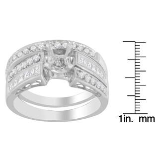 14k White Gold 3/4ct TDW Semiset Round and Princess-cut Diamond Ring
