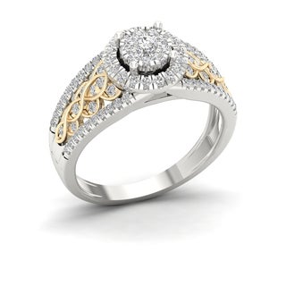 De Couer 10k Yellow Two Tone White Gold 1/2ct TDW Diamond Cluster Engagement Ring (H-I, I2)
