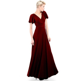 Evanese Women's Elegant Slip-on Long Formal Evening Party Dress with Empire Waist Full Skirt and Short Sleeves (As Is Item)