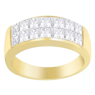 14k Yellow Gold 1 1/2 ct TDW Princess Diamond Cluster Ring (G-H, SI1-SI2)