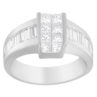 14k White Gold 2 3/4ct TDW Princess and Baguette-cut Diamond Ring