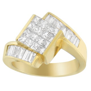 14k Yellow Gold 1 1/3ct TDW Princess and Baguette-cut Diamond Ring