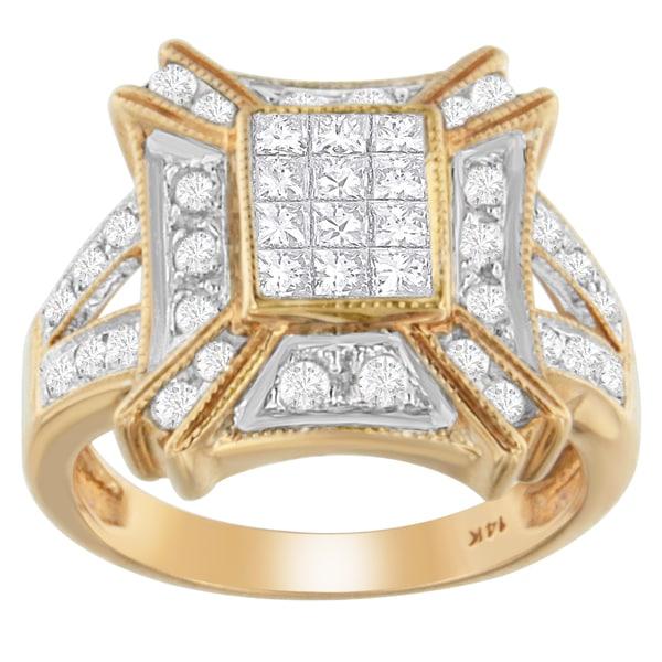 14K Rose Gold 1 ct. TDW Round and Princess-cut Diamond Ring (G-H, I1-I2)