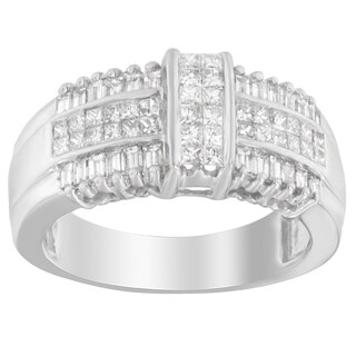 14k White Gold 1ct TDW Baguette and Princess-cut Diamond Ring