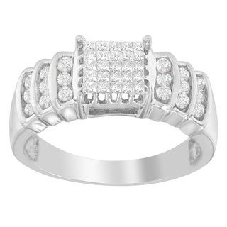 14k White Gold 1/2ct TDW Round and Princess-cut Diamond Ring