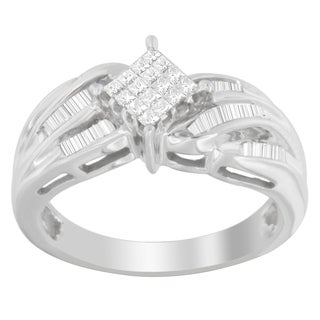 14k White Gold 1/2ct TDW Princess and Baguette-cut Diamond Ring