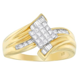 10k Yellow Gold 1/3ct TDW Round, Baguette and Princess-cut Diamond Ring