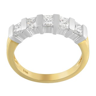 14k Two-tone Gold 1 1/10ct TDW Princess-cut Diamond Ring