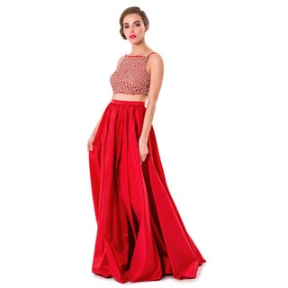 Terani Couture 2-piece Red Polyester Long Prom Gown