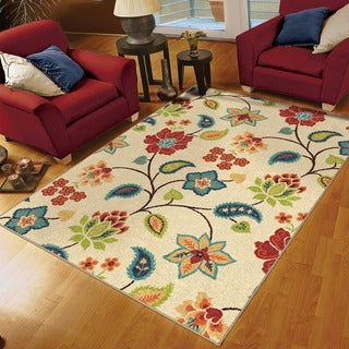 "Aria Collection Garden Chintz Ivory Olefin Area Rug (6'5"" x 9'8"") (As Is Item)"