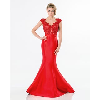 Terani Couture Women's Illusion Red Floral Sweetheart Gown
