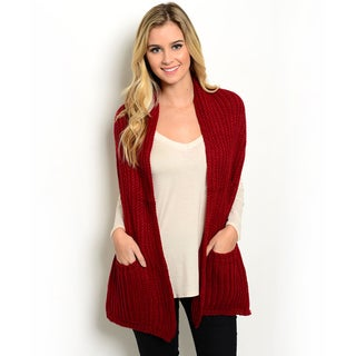 Shop The Trends Women's Burgundy Acrylic Extra-wide Scarf Wrap with Pockets