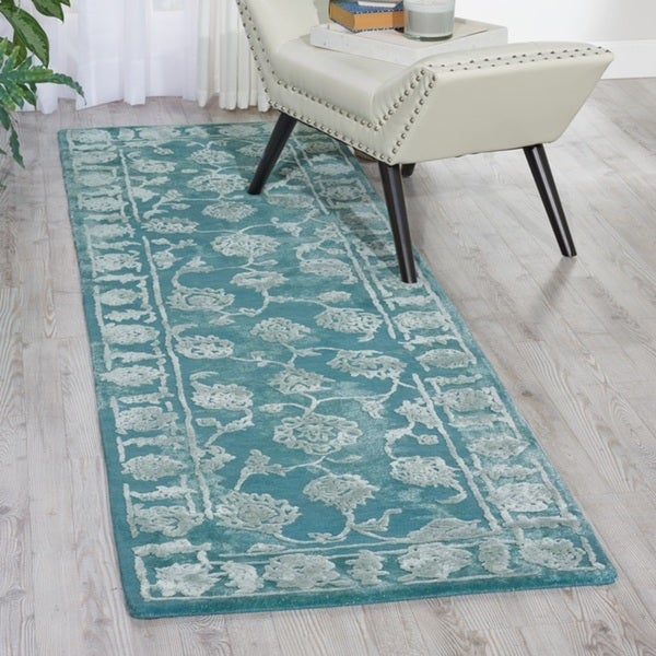 Shop Nourison Opaline Aqua Runner Rug (2'3 X 8')