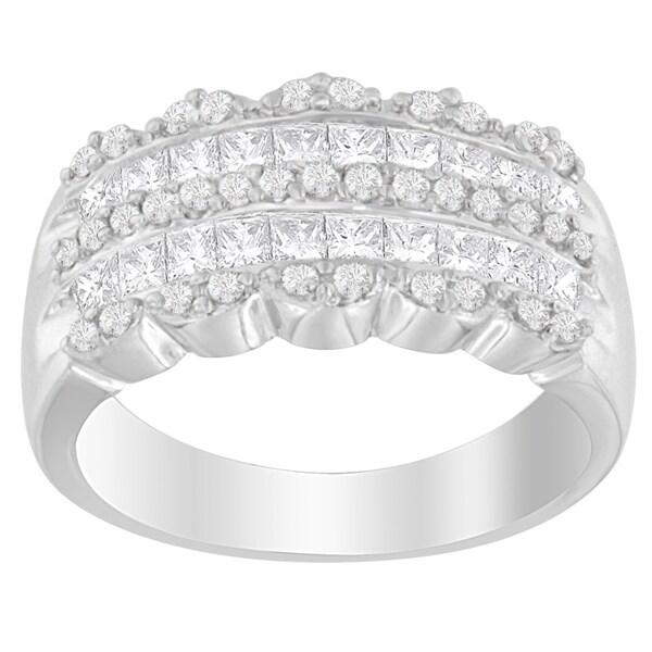14K White Gold 1.15ct. TDW Round and Princess-Cut Diamond Ring(H-I, SI2-I1)