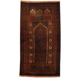 Herat Oriental Afghan Hand-knotted Tribal Balouchi Wool Rug (2'7 x 5')