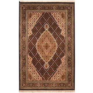 Herat Oriental Indo Hand-knotted Tribal Tabriz Wool & Silk Rug (3'3 x 5'1)